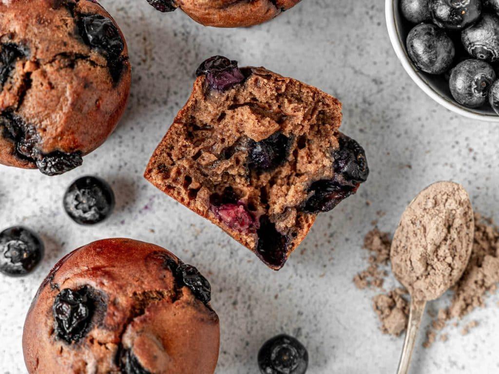 Muffins myrtille et protéine en poudre